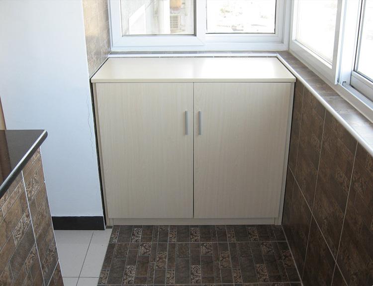 定制木质阳台柜子多功能收纳柜餐边柜杂物柜简约阳台储物柜带门