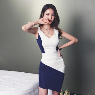 V领性感拼色包臀裙无袖夏季气质开叉名媛不对称一步裙修身连衣裙