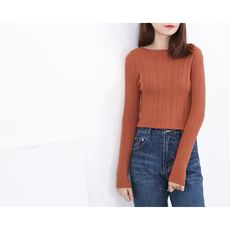 MISAZ homemade slim slimming inside soft crater sweater elastic round neck pullover simple temperament shirt