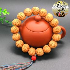Peach nucleus hand string holding wild natural evil spirits round round pile brain pattern 18 rosary beads beads wenwan car hanging