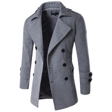 Winter Men Double Breasted Trench Coat Mens Clothing Jackets