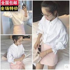 Autumn new Korean version of the loose bubble lantern sleeves white shirt fashion temperament large size long-sleeved shirt shirt girls