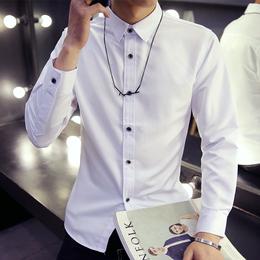 春季长袖衬衫男士韩版修身型青少年百搭白色休闲衬衣潮男装寸衫男