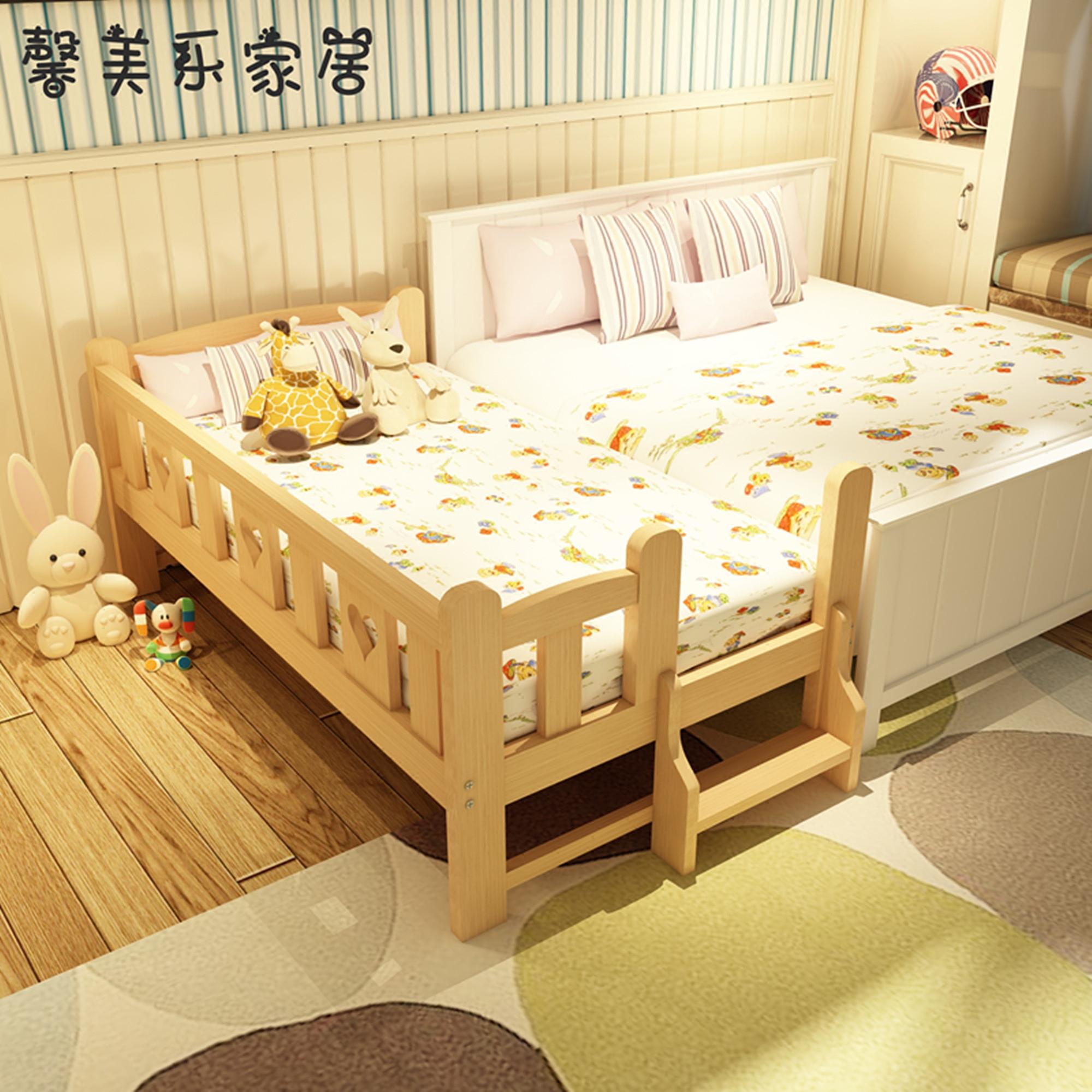 定做儿童床带护栏实木婴儿床小孩单人床男孩女孩拼接大床加宽边床