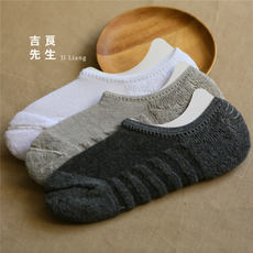 6 pairs of shipping new towel bottom men's boat socks solid color shallow mouth anti-terry invisible socks silicone anti-shed cotton socks
