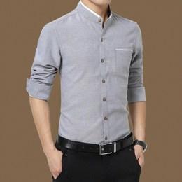 男士衬衣秋冬季2018新款纯棉衬衫衣长袖土保暖中年村衫寸