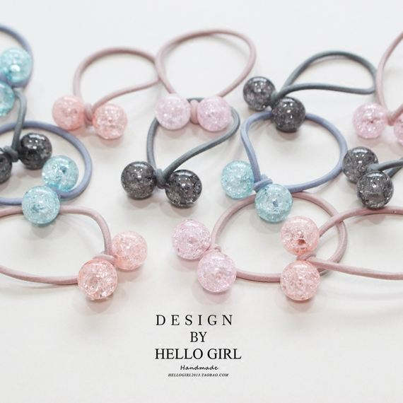 Rose girl heart 璀璨 jelly ball ball rope new hand knotted hair ring head rope rubber holster hair accessories