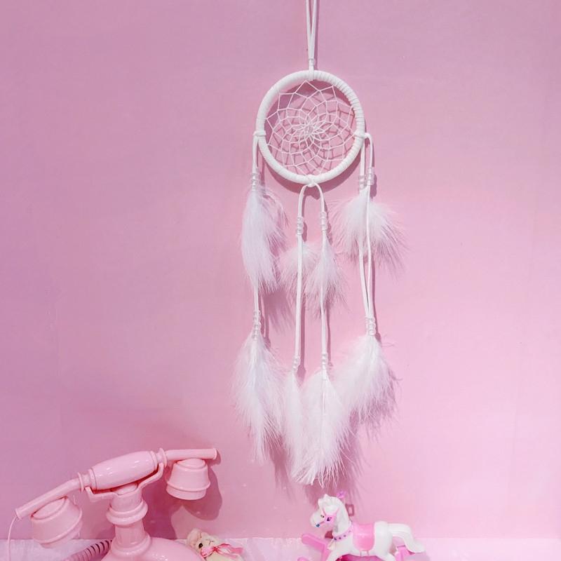 日系少女心可爱软妹白色羽毛捕梦网房间装饰拍摄道具挂饰