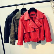 2018 Spring New Korean version of the loose fashion wild lantern sleeves washed PU short motorcycle leather jacket ladies tide