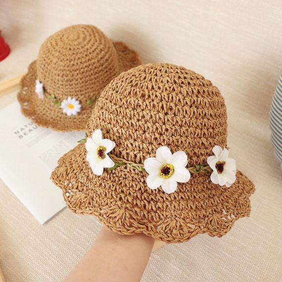 Child Fisherman Hat Girl Grass Hat Summer Thin Breathable Sunshade Female Baby Princess Fresh Sun Beach