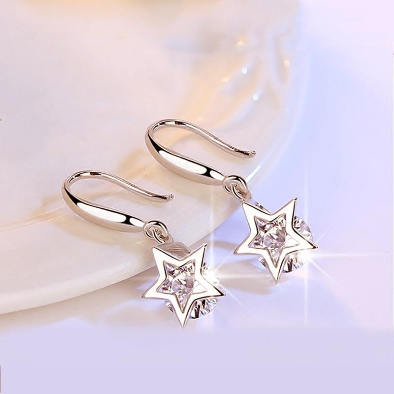 日韩气质S925银耳环女长款流苏纯银耳坠简约时尚水晶钻足银耳饰品