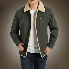 Flyers autumn and winter cotton clothing men's large size loose cotton jacket male solid color plus velvet tool lapel youth cotton jacket