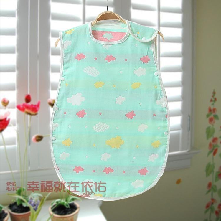 儿童纯棉三层纱布卡通提花无袖宝宝婴幼儿睡袋,防踢被40*60