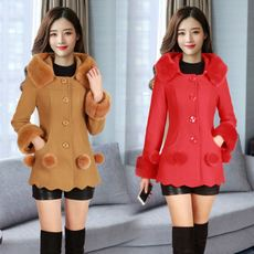 2017 winter new women's warm thick woolen cloth coat long coat beautiful fashion Slim was thin
