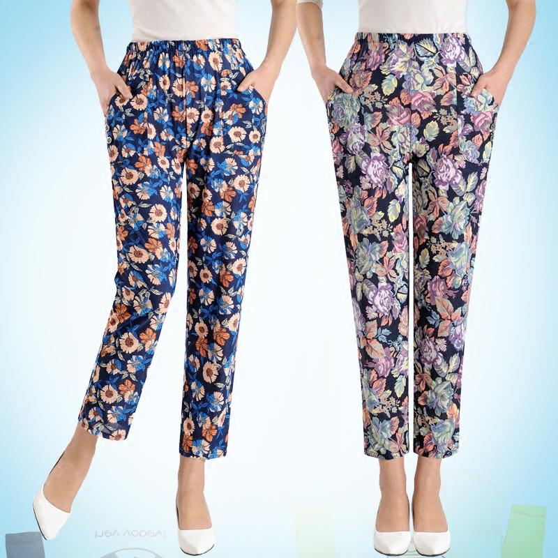 夏季新款女裤薄款松紧腰九分裤花色冰丝裤中老年妈妈装弹力直筒裤