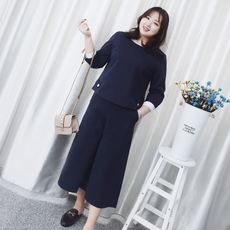 Large size women's wide leg pants suit slim fat mm2018 new spring 200 kg loose favorite Western style two-piece