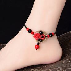 National style retro wind anklet female Korean version of the simple student Sen Department of honey hand-made cinnabar jewelry large size
