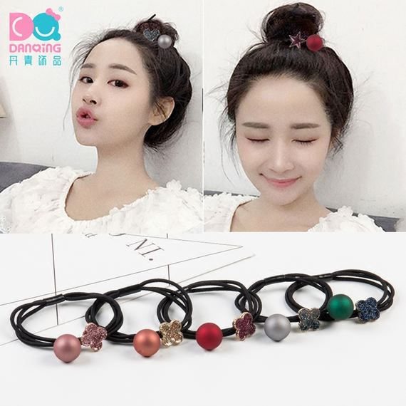 New rubber band hair ring matte black ball new adult girl tie hair rubber band head rope hair rope