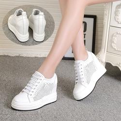 欧洲站女鞋内增高2018春夏新款真皮镂空休闲透气白色厚底松糕鞋潮