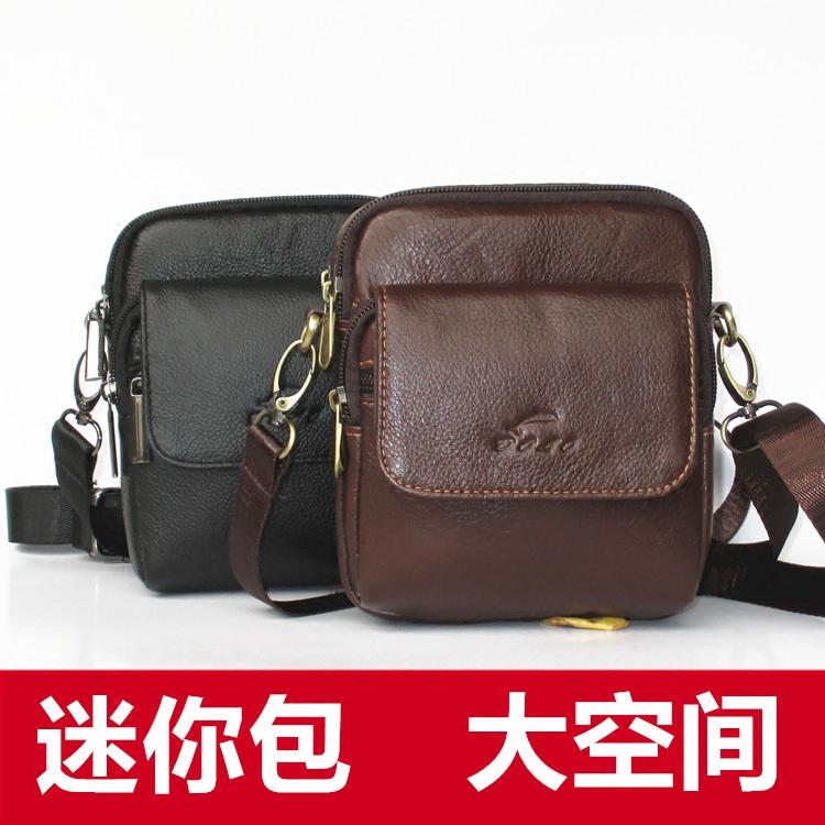 新款真皮小包男士牛皮斜挎小包休闲穿皮带腰包两用迷你小斜挎包包