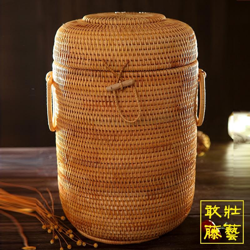 13饼大号普洱茶饼桶 手工藤编七子茶桶 干货储存收纳罐防潮越南藤