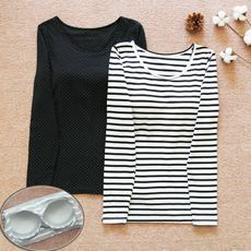 With chest pad long-sleeved t-shirt bra Ms. spring and autumn and winter home wear wear bra underwear striped autumn clothes shirt