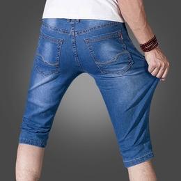 夏季薄款7分牛仔短裤男士夏天七分裤五分中裤修身弹力宽松马裤子