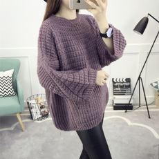 Loose sweater lady's head autumn and winter loose bat sleeves Korean version of the thick line jacket sweater sweater autumn women's clothing