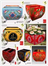 All solid wood Ming and Qing dynasty classical painting box Painted girders rice bucket specials Chinese jewellery box decoration crafts
