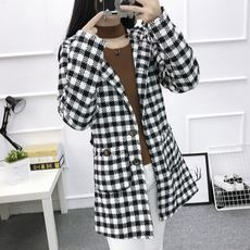 Clearance Specials Spring long-sleeved plaid jacket women's long coat fashion Slim hooded women's trench coat