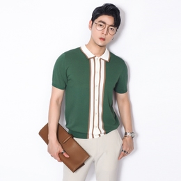 川泽薄款短袖针织衫男士夏季开胸翻领上衣弹力撞色青年针织T恤潮