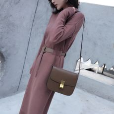 Net red winter new carefully leather belt design knit long skirt sweater dress was thin bottoming female MMCO