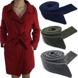 双面呢子腰带毛呢大衣腰带装饰宽腰带蝴蝶结绑带黑色腰带女配件