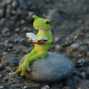 真自在田园小青蛙树脂摆件创意微景观可爱动物家居饰品礼物送男生