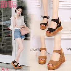 Cambodia East Dadong 2018 new sandals female wedges with women's shoes thick platform waterproof platform muffin ladies student sandals