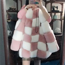 Anti-season fur 2017 new winter long section of imitation fur coat female fashion pink rabbit fur coat clearance
