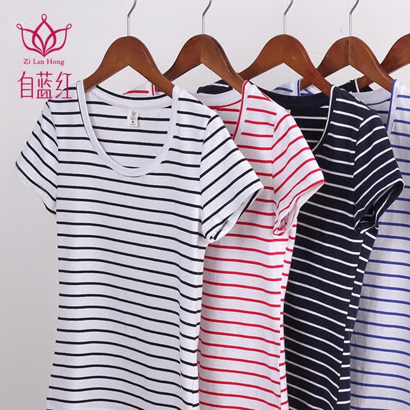 自蓝红韩版条纹t恤女夏短袖修身圆领紧身棉95%短款大码纯色打底衫