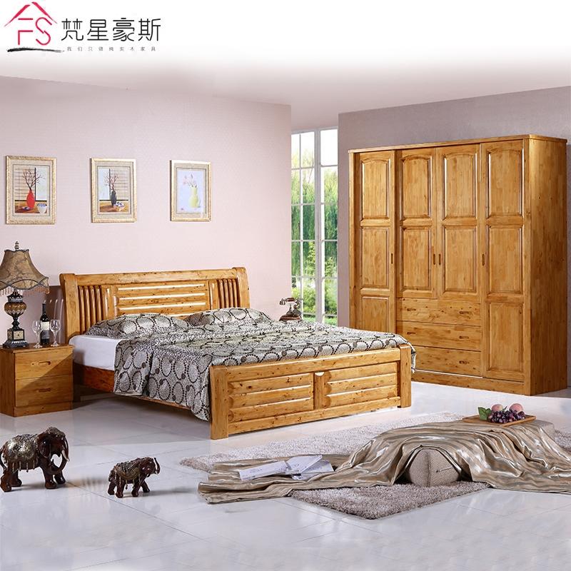 中式实木柏木卧室成套家具双人床推拉衣柜组合五件套实木全套家具