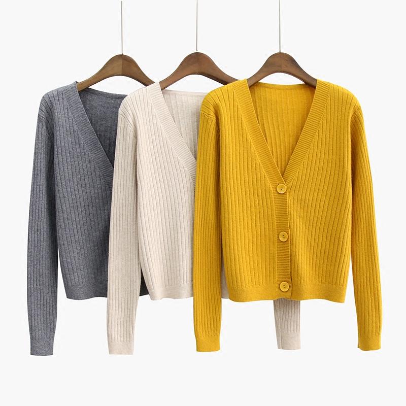 春秋新款韩版宽松外搭v领针织衫开衫毛衣外套女短款坑条长袖上衣