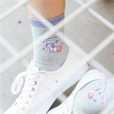 Rex rabbit South Korea imported authentic socks summer cotton unicorn solid color cartoon female socks ladies socks in stockings