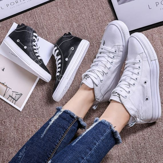 CCVV women's shoes 2018 spring new style with high-top casual shoes leather flat-bottom comfortable small white shoes student shoes tide
