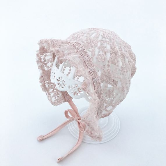 Female baby net hat baby hat summer thin section girls sun hat lace princess hat sun hat 2-5 months 3