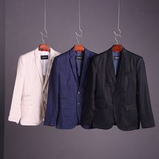 Recommended old customers 2018 spring new men's linen suits suits suits solid color cotton single West