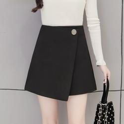2018秋冬季新款不规则半身裙女大码高腰显瘦A字裙修身包臀裙短裙