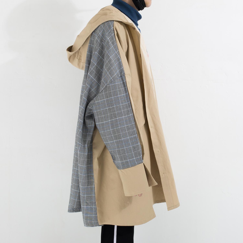DM-space 超级超级宽松 廓形披风式 拼接撞色男女青年OV风衣外套