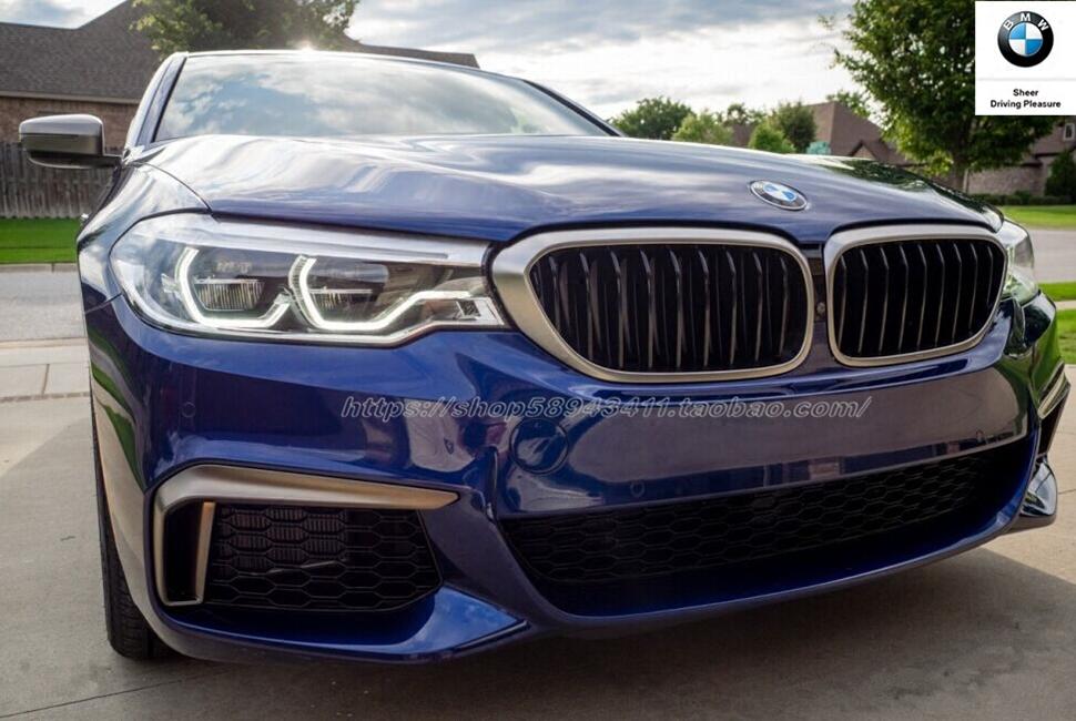 宝马BMW原装新款5系中网G38G30M550i铈灰色獠牙中网獠牙尾标套件