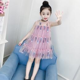 女童连衣裙夏装2018新款洋气童装韩版纱裙儿童裙子夏公主裙蓬蓬纱