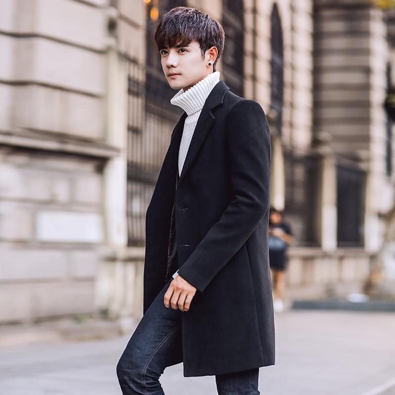 日系風衣男長款加厚保暖呢大衣男潮男士寬松呢外套毛呢子韓版圖片