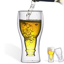 New item Handmade Double Wall Glass Beer Mug