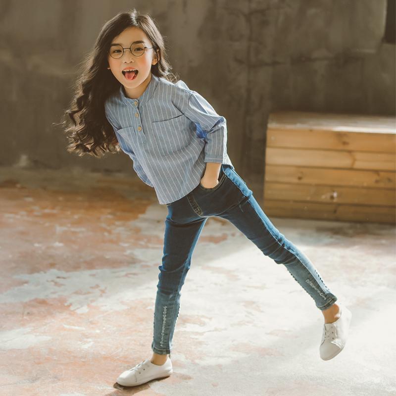 韩国中大童装女童春装套装2017新款韩版潮衣儿童衬衫牛仔裤两件套